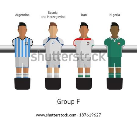 Table football, soccer players. Group F - Argentina, Bosnia and Herzegovina, Iran, Nigeria. Vector illustration. - stock vector
