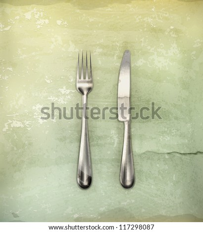 Table knife and fork, old-style vector - stock vector
