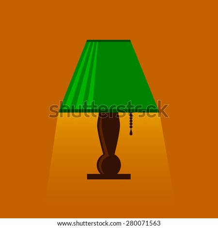 table-lamp, desk lamp,  reading-lamp with light,  flat style vector illustration, eps10 - stock vector