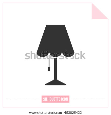 Table lamp. Flat black icon. Object of interior, light source - stock vector