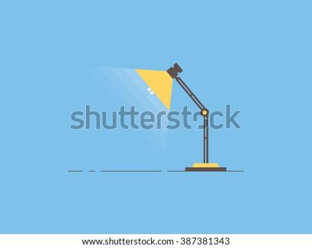 Table lamp, flat design - stock vector