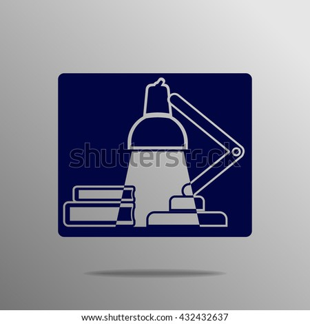 table lamp icon blue on a gray background - stock vector