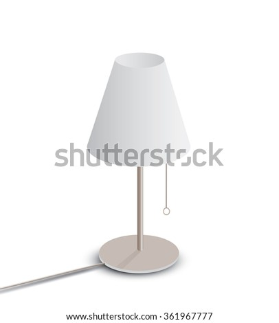 Table lamp isolated on white background - stock vector