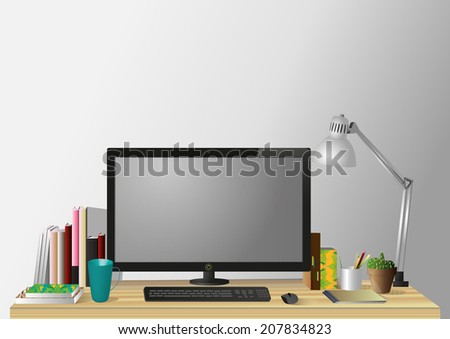 Table office worker. - stock vector