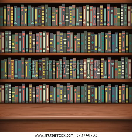 Table on background of bookshelf full of books. Old library. - stock vector