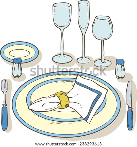 Table setting - stock vector