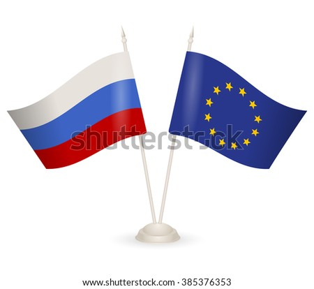 Table stand with flags of Russia and European Union. Symbolizing the cooperation between the two countries. flag icons. Two flag vector. flag pole.  - stock vector