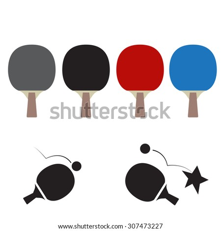 table tennis icon and rackets isolated on white - stock vector