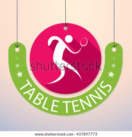 Table Tennis / Ping Pong - Colorful Paper Tag for Sports - stock vector