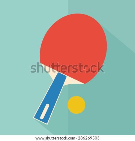 Table tennis racket and ball. flat vector - stock vector