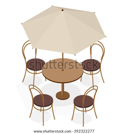 Table with chairs for cafes. Table with chairs icon. Table with chairs Modern. Table with chairs on background. Table with chairs Flat. Table with chairs isometric. Table with chairs vector - stock vector