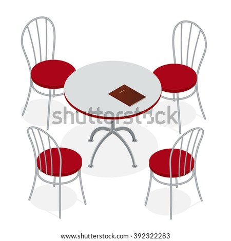 Table with chairs for cafes. Table with chairs icon. Table with chairs Modern. Table with chairs on background. Table with chairs Flat. Table with chairs isometric. Table with chairs vector.  - stock vector