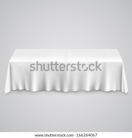 Table with tablecloth on a white background, template design element, Vector illustration - stock vector