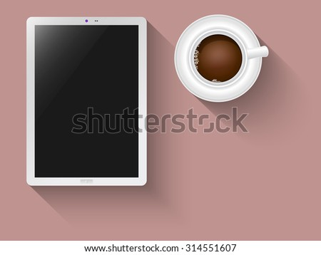 Tablet and coffee as a concept to creativity - stock vector