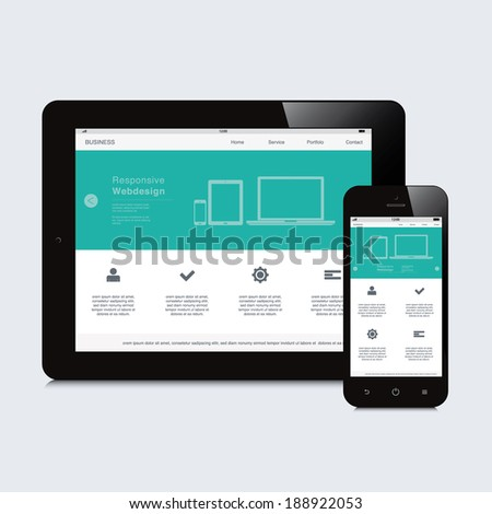 tablet and phone responsive webdesign - stock vector