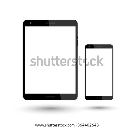 tablet and smartphone vector mockup over white, vector illustration - stock vector