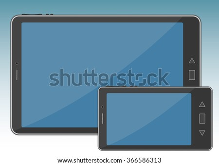 Tablet and smartphone. Wireless multimedia portable devices with wifi conexion - stock vector