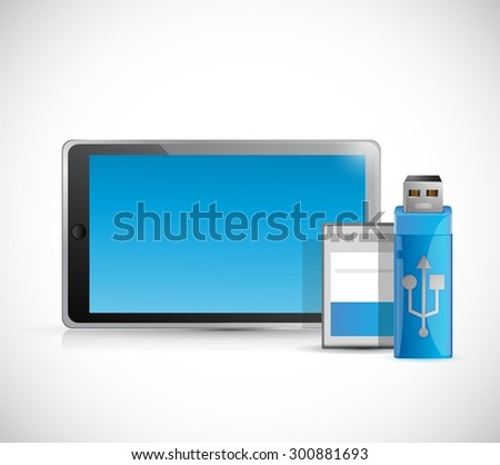 tablet and storage objects illustration design graphic - stock vector