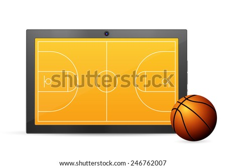 Tablet basketball on a white background. Vector illustration. - stock vector