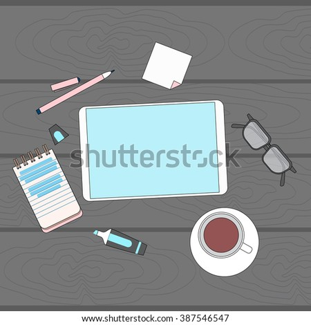 Tablet Blank Screen Computer Mock Up Desk Office Workplace Empty Screen Copy Space Top Angle Above View Vector Illustration - stock vector