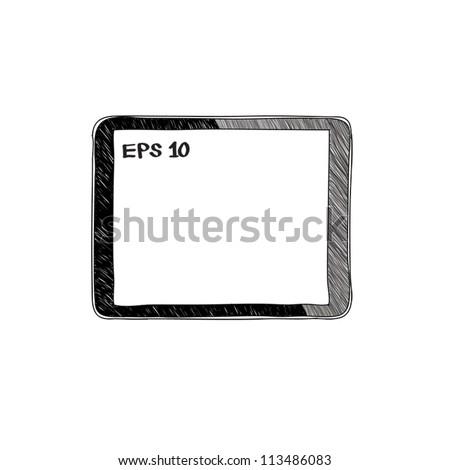 tablet computer pc sketch vector illustration - stock vector