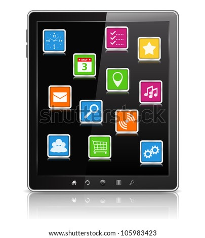 Tablet Computer, vector eps10 illustration - stock vector