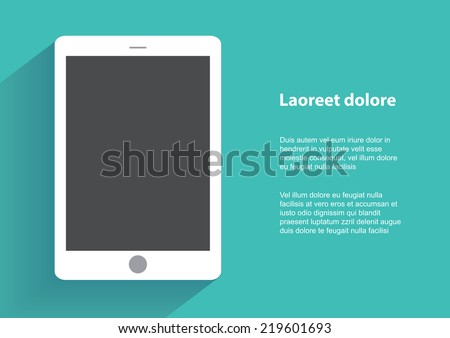 Tablet computer with bla?k screen. Using digital tablet pc similar to ipad, flat design concept. Eps 10 vector illustration - stock vector