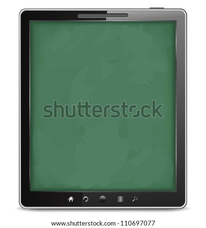 Tablet computer with blackboard background, e-learning concept, vector eps10 illustration - stock vector