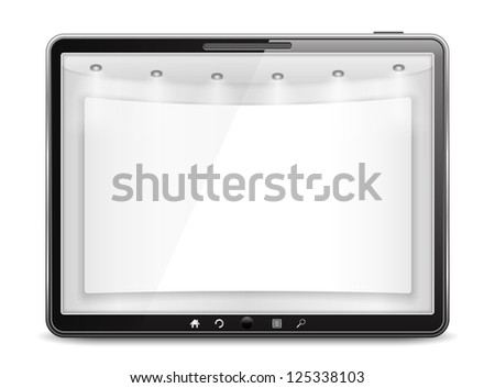 Tablet computer with blank banner on the screen, vector eps10 illustration - stock vector