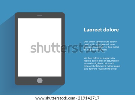 Tablet computer with blank screen. Using digital tablet pc similar to ipad, flat design concept. Eps 10 vector illustration - stock vector
