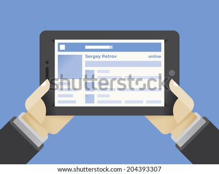 Tablet computer with social network internet page in businessman hands  - stock vector