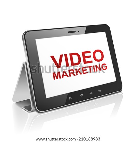tablet computer with text video marketing on display over white  - stock vector