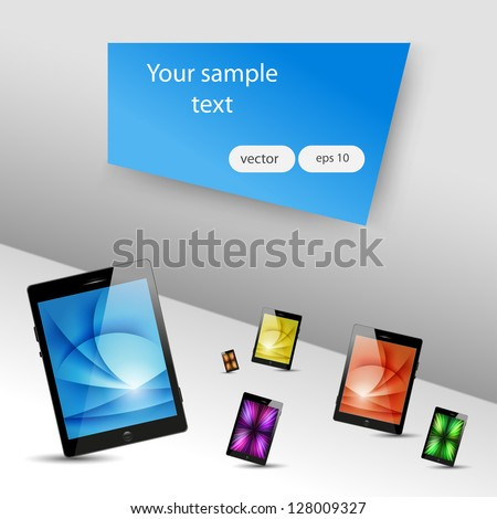 tablet computers and mobile phone icons - stock vector