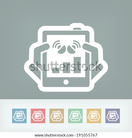 Tablet connection icon - stock vector