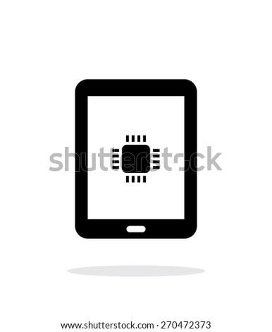 Tablet CPU simple icon on white background. Vector illustration. - stock vector