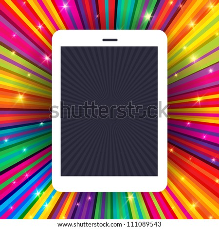 Tablet device on colorful rays background. Conceptual illustration, vector, EPS10 - stock vector