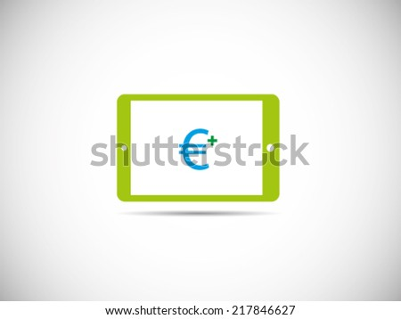 Tablet Euro Receive - stock vector