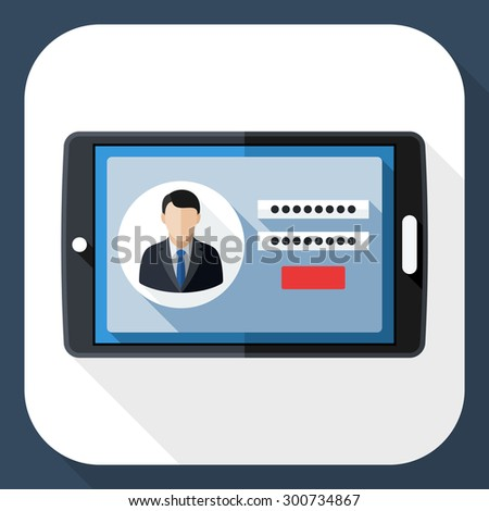 Tablet icon with user login form and long shadow - stock vector