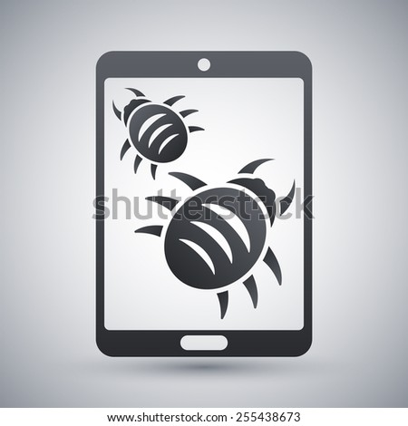 Tablet is infected by malware, vector illustration - stock vector