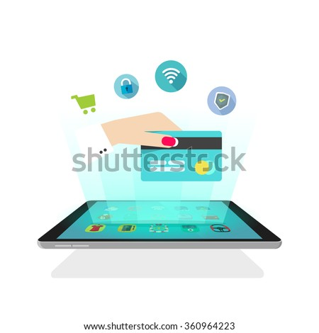 Tablet light rays with icons, hand holding credit card, online secure shopping, abstract ecommerce shop, future mobile technology, electronic wallet, video hologram design vector illustration isolated - stock vector