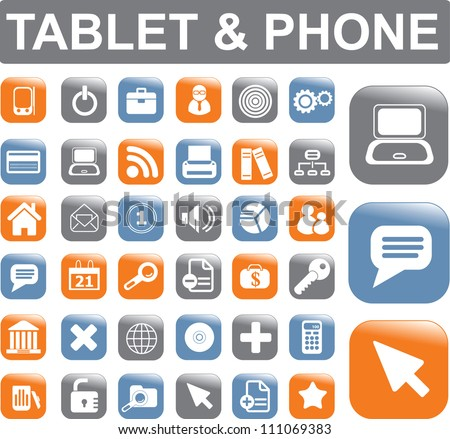 tablet & mobile phone apps icons, buttons set, vector - stock vector