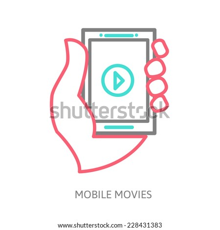 tablet on the hand with video player, line vector illustration eps 10 - stock vector