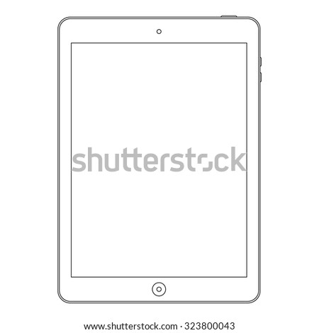 tablet outline icon symbol in ipad style on the white background. stock vector illustration eps10 - stock vector