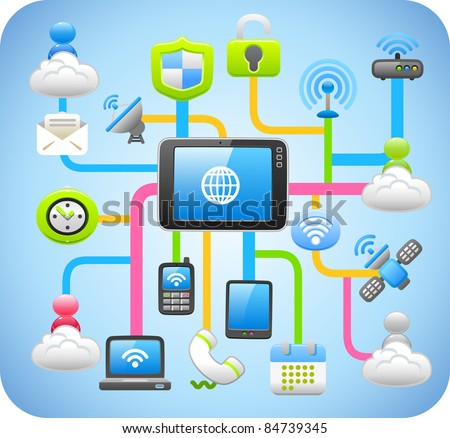 Tablet PC,cloud computing,network concept - stock vector
