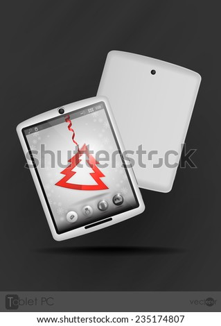 Tablet Pc & Mobile Phone. Christmas And New Year Symbols. Vector Illustration - stock vector