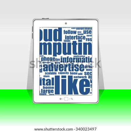 Tablet pc. social network and connected words on touchscreen tablet pc. brochure and touching smart phone screen vector illustration - stock vector