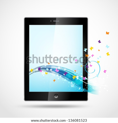tablet pc stylized with butterflies and light effects,sparkles - stock vector