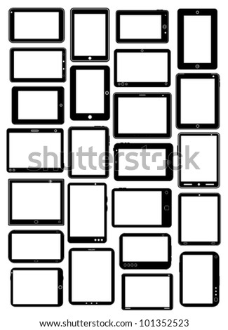 Tablet PC Vector Collection in Black - stock vector