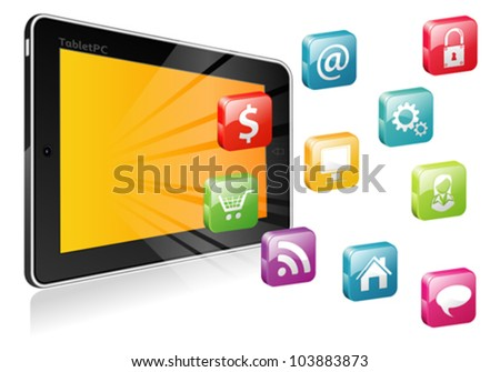 Tablet PC  with a blank place for icon and icon set, vector illustration - stock vector