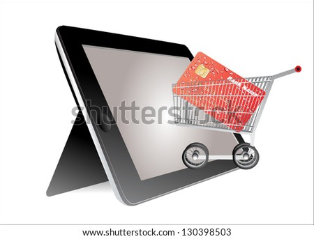 tablet pc with a credit card and a shopping cart - stock vector